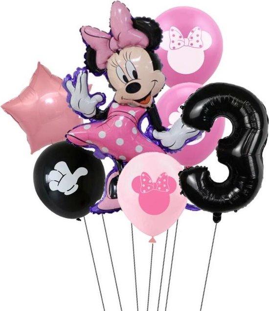 7 stuks ballonnen Minnie Mouse thema - verjaardag - 3 jaar