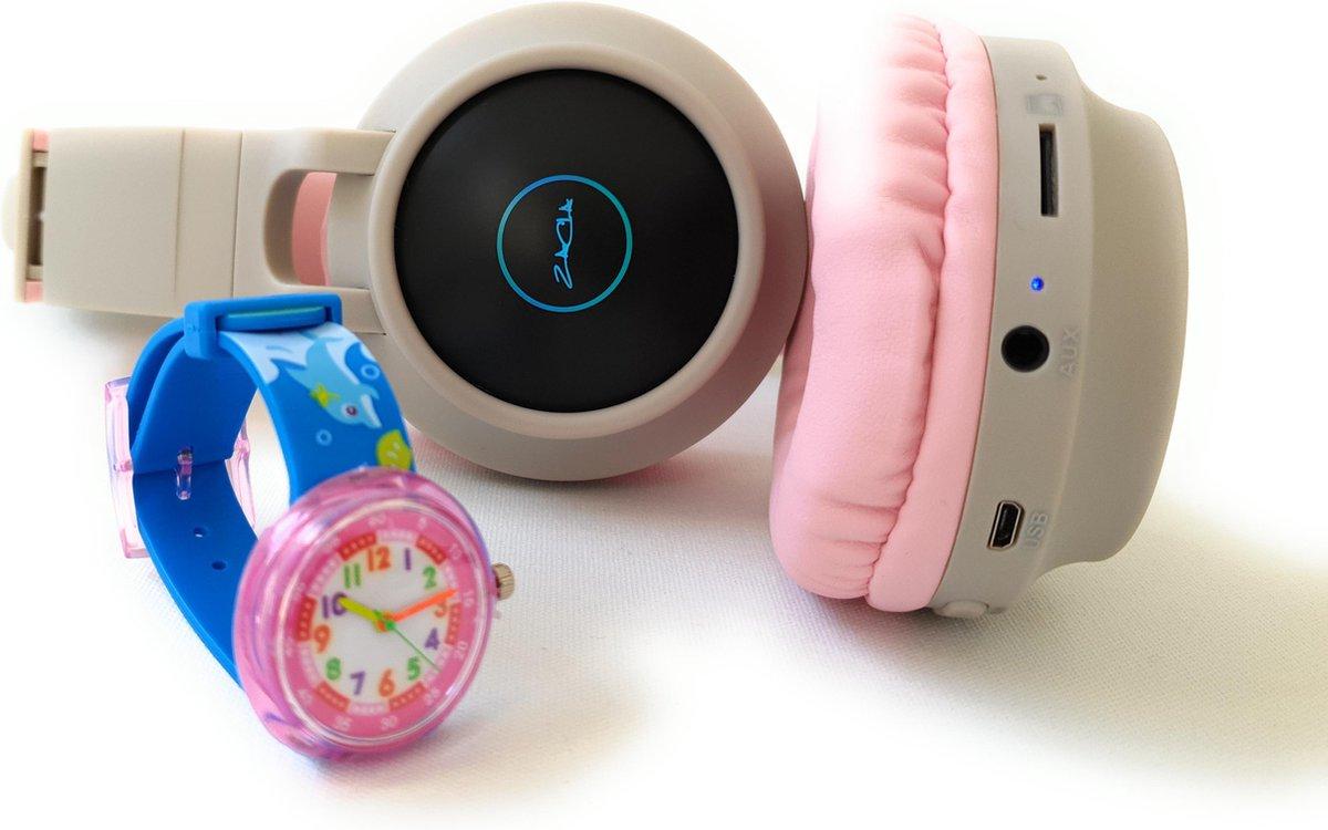 ZaCia Bluetooth Draadloze On-Ear Koptelefoon voor Kinderen GrijsRoze Incl. educatief kinderhorloge – Kattenoortjes – Kinder Hoofdtelefoon – Microfoon – HiFi Stereo Audio – Handsfree – Gehoorbescherming – Schakelbare LED-verlichting – Noise Cancelling