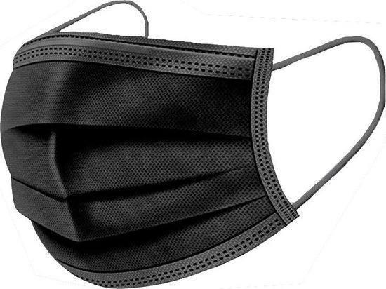 Afbeelding van 100 stuks - Wegwerp 3laags gezichtsmaskers - mondmasker - mondkapje (zwart)