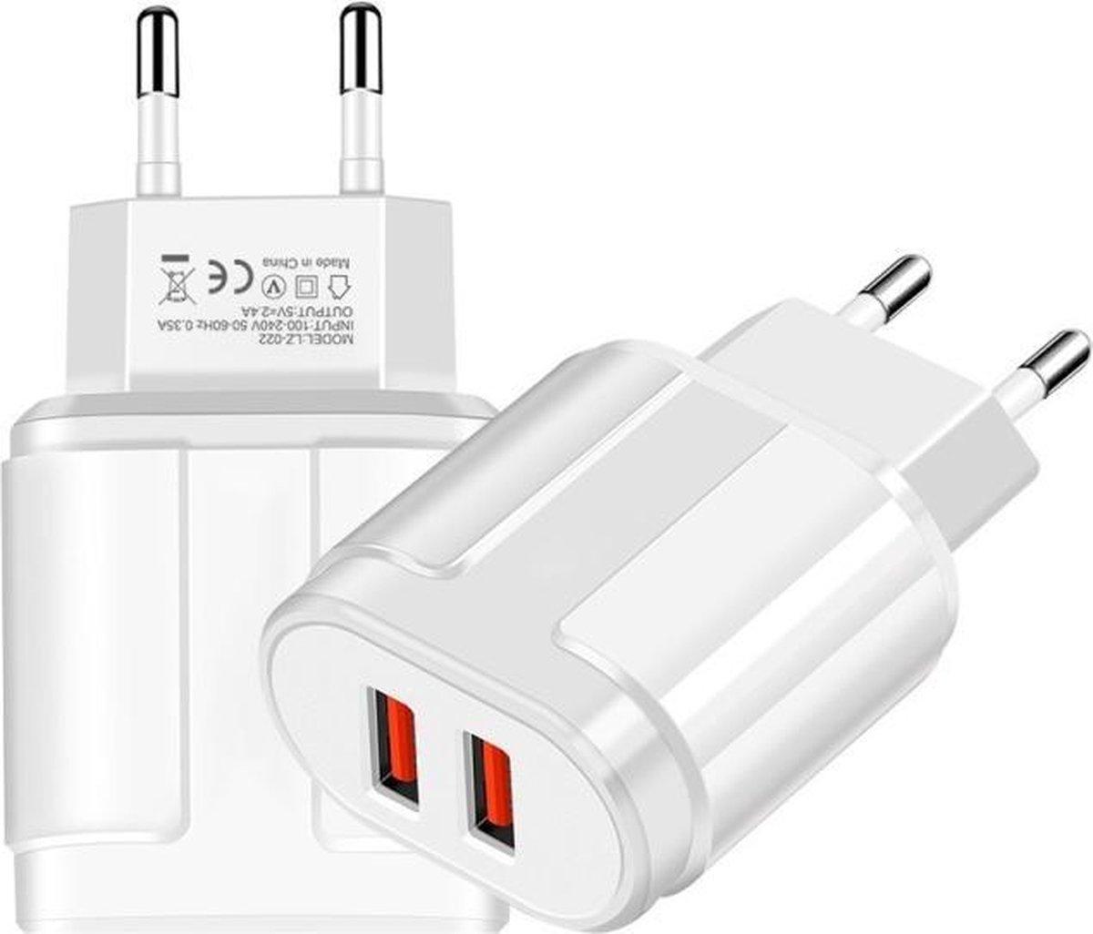 OPSO USB Adapter oplader met 2 poorten 5V 2.4A voor telefoon, tablet etc.