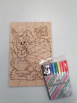Pasen puzzel om zelf in te kleuren- kleuren - knutselen - pasen - paashaas -puzzelen - puzzeltje