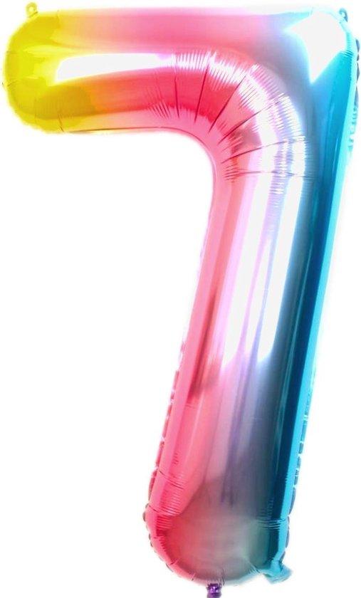 Folie Ballon Cijfer 7 Jaar Regenboog 70Cm Verjaardag Folieballon Met Rietje