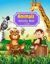 Animals Activity Book for Kids: Coloring, Mazes, Dot to Dot, Color By Number and More Activities for kids Ages 4-8 - animals coloring book for girls -