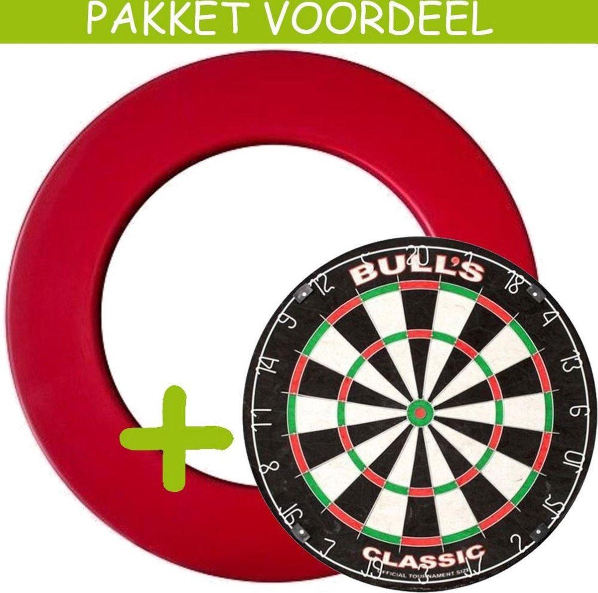 Dartbord Surround VoordeelPakket - Bulls Classic - Rubberen Surround-- (Rood)