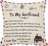 """TDR - Sierkussensloop - 45x45 cm  - leuk als cadeau voor naar vriendin -  """"To my girlfriend"""""""