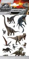 Jurassic World Tattoos - Tijdelijke Tattoo - Body Glitter - Plak Tattoos - Nep Tattoo - Fake Tattoo - Kinderen - Dino - 1 Vel met 12 tattoos