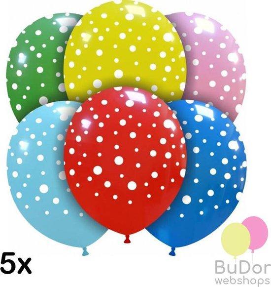 Ballonnen met stippen, gemixte kleuren, 5 stuks, 30cm