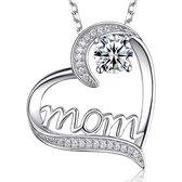 Moeder Ketting dames - 2 kleuren steen - Wit Zilver - verstelbaar 45+5 cm - liefde - verjaardag - Mo
