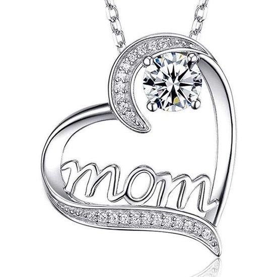 Moeder Ketting dames - 2 kleuren steen - Wit Zilver - verstelbaar 45+5 cm - liefde - verjaardag - Moederdag cadeautje - cadeau voor haar - mama - vrouw