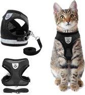 Kattentuigje met looplijn | Zwart Kattenharnas | Easy Step In | Kattenriem | Kattenlijn | Kattentuig | Maat S
