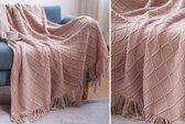 Trendy Plaid met Franjes – 127 x 172 cm – Roze