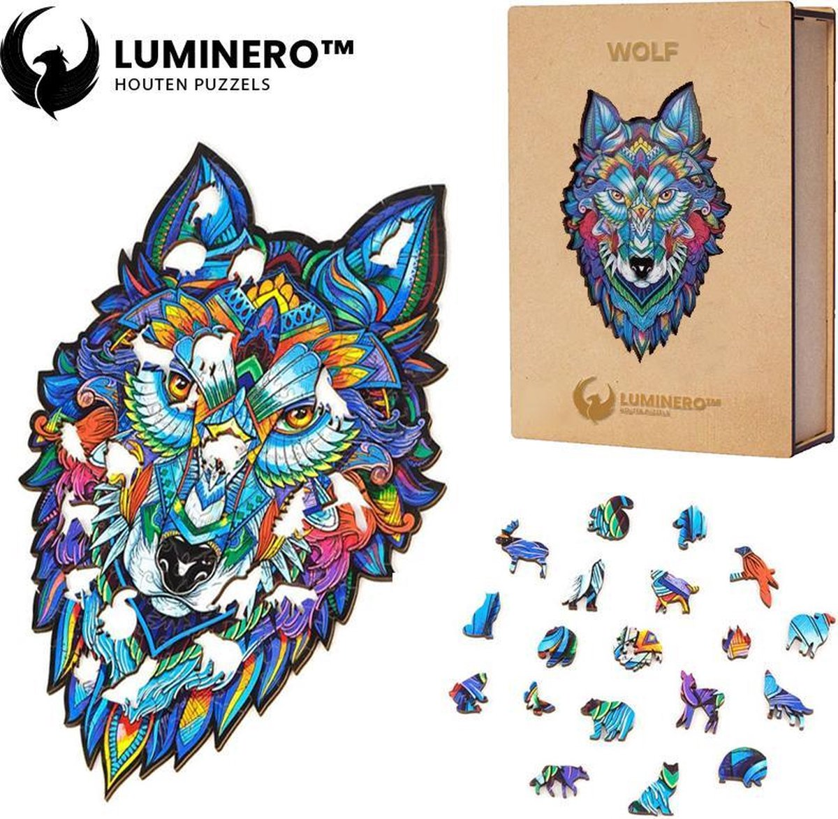 Luminero™ Houten Wolf Jigsaw Puzzel - A3 Formaat Jigsaw - Unieke 3D Puzzels - Huisdecoratie - Wooden Puzzle - Volwassenen & Kinderen - Incl. Houten Doos