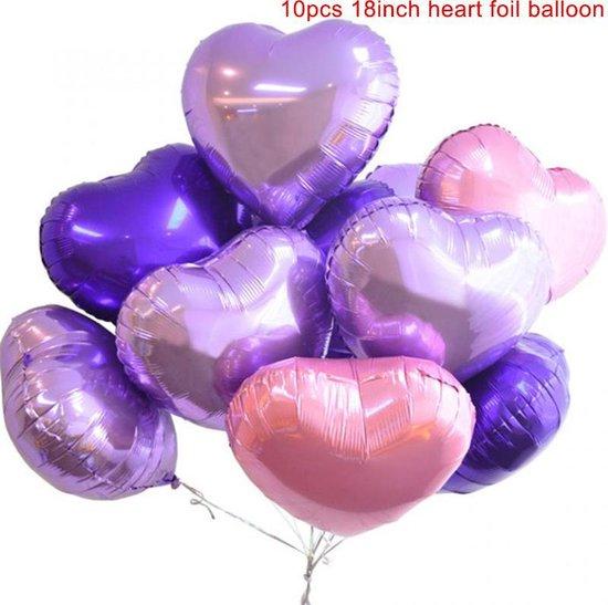 WiseGoods Luxe Helium Hart Ballonnen - Paars, Blauw & Lila - Feest - Bruiloft - Verjaardag - Liefde - Decoratie - 10 Stuks