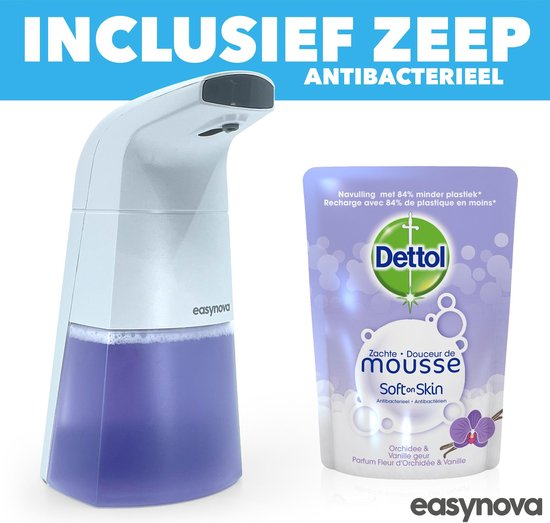 Automatische Foam Dispenser - Schuim - Zeep - Zeepdispenser - Hygiëne - Infrarood Sensor - Schuimzeep dispenser - Zeeppompje - Elektrische Zeep Dispenser - Dettol Mousse