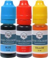 Eetbare Kleurstoffen 3 stuks - Basisset   Topkwaliteit Voedingskleurstoffen in handig doseer-flesje   voor Taart / Bakken   Basiskleuren
