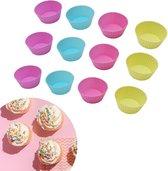 ZijTak - Cupcake - 12 stuks - Vrolijke kleuren - Muffin - Muffinvorm - Cupcakevorm - Silicone - Siliconen - Vaatwasbestendig - Bakken - Taart - Gebak - Vorm - Gratis verzending - Roze Groen Blauw Paars