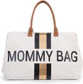 Childhome Mommy bag groot - OFF WHITE STRIPES BLACK/GOLD