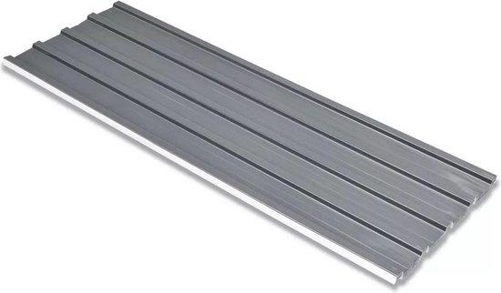 vidaXL Dakpanelen gegalvaniseerd staal grijs 12st - vidaXL