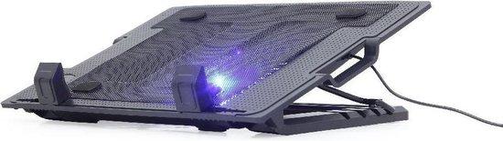 Verstelbare Laptopstandaard - Tot 17 - met Koelventilator - 2-poorts USB Hub - Zwart/Blauw