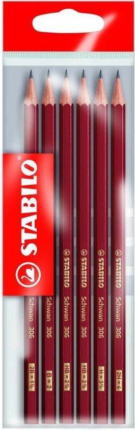 Afbeelding van STABILO Schwan 306 - Grafietpotlood - 6 stuks 2x HB | B | H | 2B | 2H
