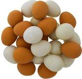 50x Stuiterballen Ei - stuiterbal nep eitje - bruine en witte eieren - uitdeelcadeautje traktatie Pasen