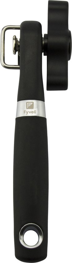Fyveli blikopener Firenze - Veilig - Opent zonder scherpe randen - hersluitbaar - RVS - Silicone - Zwart - Blik opener - Can opener - RVS blikopener
