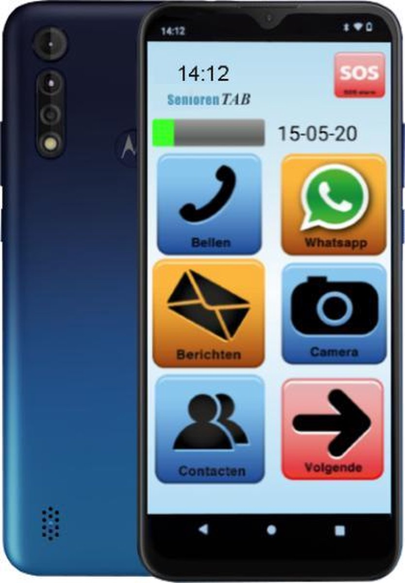 Senioren Smartphone 64GB Vlaamse Versie (De officiële SeniorenTab op basis van een Motorola Smartphone)