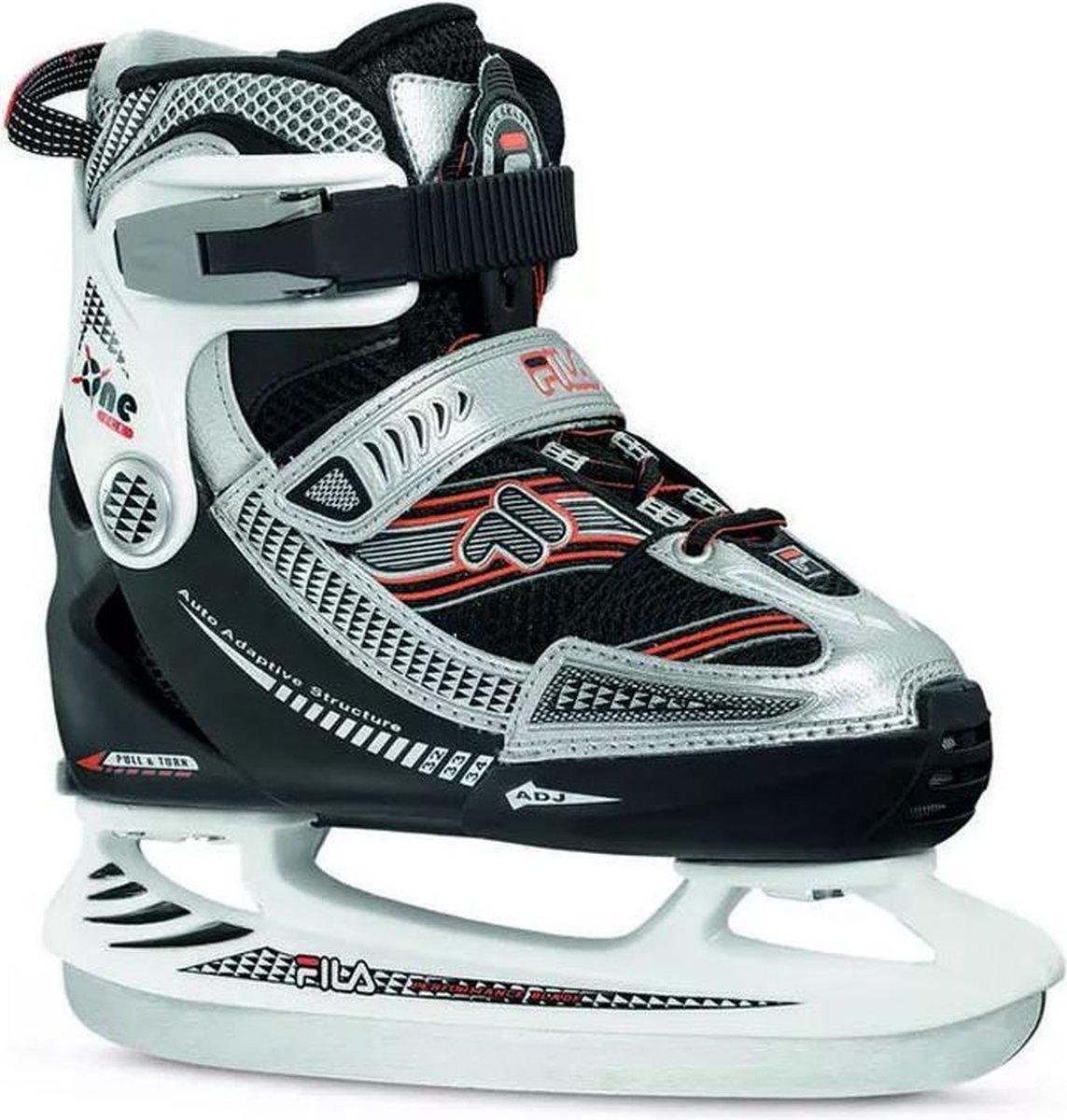 Fila Kinder Schaatsen - X-ONE ICE - Verstelbaar - Maat 32-35 - Rood - Zwart- Zilver