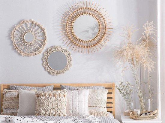 Made4Home® - Spiegel rotan | Rond |1 stuk | Wandspiegel | Zonnespiegel | Hout | Natural | Bamboe | Bohemian | Wanddecoratie | Interieur spiegel | VT wonen | Diameter 58 cm