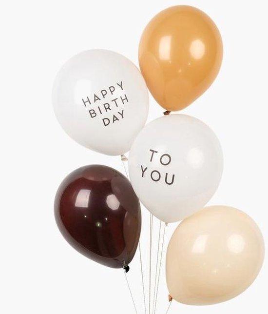 Retro - Vintage Ballonnen Bruintinten - Wit - Happy Birthday to you (zwart)   Effen - Donkerbruin - Beige - Bruin - Off-White   5 stuks    Verjaardag - Feest - Fotoshoot - Birthday - Party - Feest   Luxe   Kids - DH collection - Natuur / Basic tinten