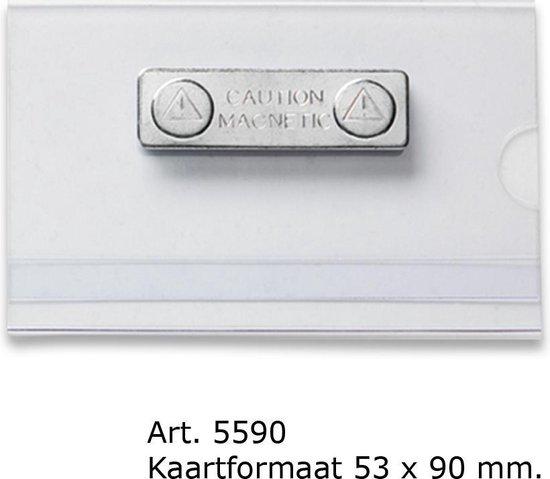 Transparante badge met magneet. 55 x 90 mm -  Verpakt per 25 stuks.