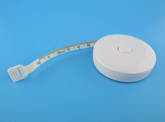 Afbeelding van Meetlint - Rolmaat - WIT - 150 cm - 60 inch - 1 stuk - Meetlint lichaam - meetlint kleding - BMI meetlint - flexibel meetlint - BMI rolmaat - seca meetlint - centimeter meetlint - lichaam meetlint