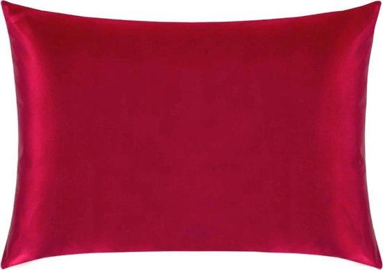 Satijnen kussensloop - Skin & Hair Pillow sleeve - Rood 60x70cm - Beauty kussen - Anti Allergeen - GRATIS satijn scrunchie