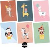 Set van 6 ansichtkaarten - Party animals