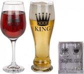 drinkglazen set King & Queen kado cadeau bruiloft huwelijk / huwelijkscadeau / bierglas / wijnglas