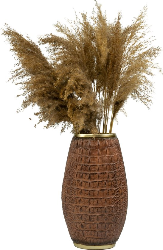 Bloemenvaas met schubben - Vaas 30 cm - bruin met krokodil schubben - bloemen - bloempotten voor binnen - vazen & flessen - 30 tot 40 cm