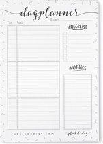 Dagplanner papier A5 notitieblok afscheurbaar ongedateerd zwart wit to do planner lijmbinding