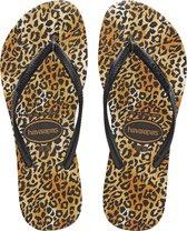 Havaianas Slim Leopard Dames Slippers - Black/Black - Maat 39/40
