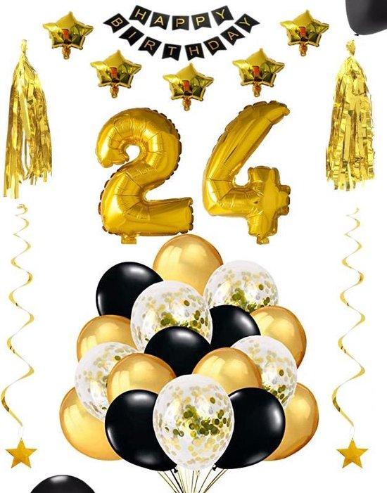 24 jaar verjaardag feest pakket Versiering Ballonnen voor feest 24 jaar. Ballonnen slingers sterren opblaasbare cijfers 24