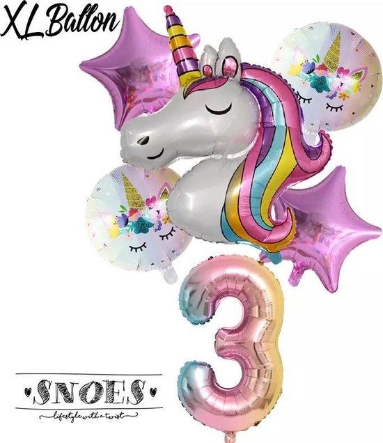 * Snoes * Unicorn * Eenhoorn * Set van 6 Ballonnen XL * Unicorn Nummer 3 * Derde verjaardag * Hoera 3 Jaar * Birthday