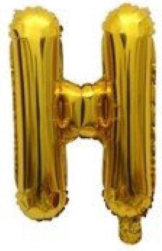 Folieballon / Letterballon Goud  - Letter H - 41cm