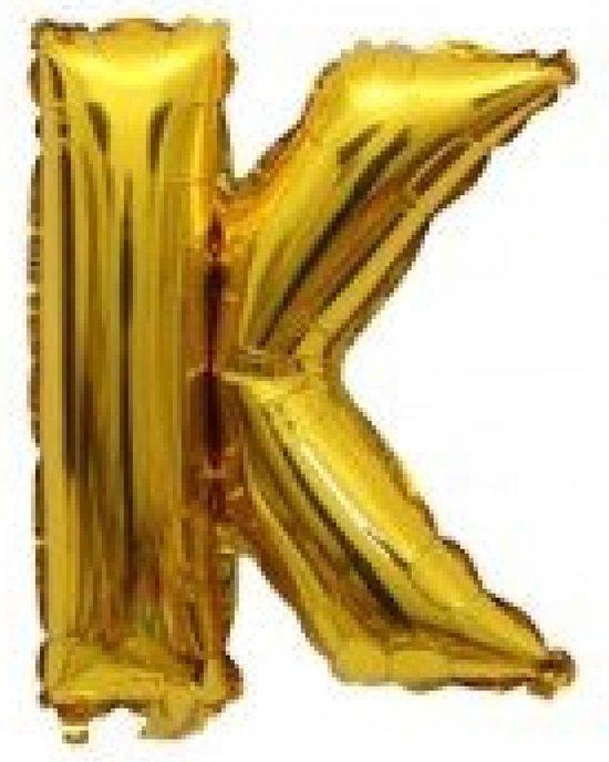 Folieballon / Letterballon Goud  - Letter K - 41cm