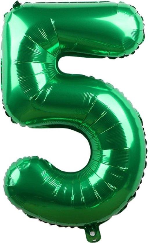 Folieballon / Cijferballon Groen XL - getal 5 - 82cm