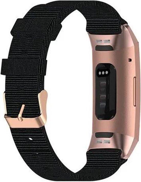 Luxe Nylon Armband Voor Fitbit Charge 3/4 Horloge Bandje - Sportband Armband Polsband Strap - Horloge Band - Watchband - Vervang Horlogeband - Zwart