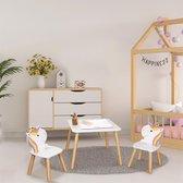 Unicorn Kindertafel met 2 stoeltjes van hout voor kinderen, Speeltafel, Kleurtafel Zitgroep set