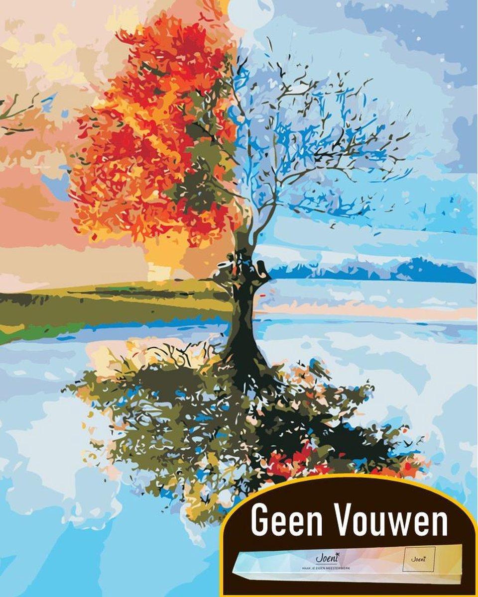 Joeni® Schilderen Op Nummer - 40x50cm - Abstract Landschap: 4 Seizoenen Boom - Volwassenen - Geschenkverpakking