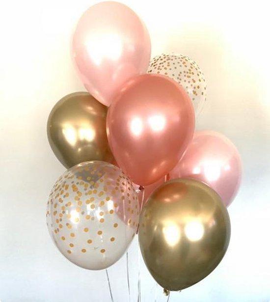 Luxe Metallic Ballonnen - Rose Goud / Papieren Confetti / Licht Roze - Set van 9 Stuks - Geboorte - Babyshower - Bruiloft - Valentijn - Verjaardag