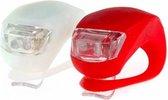 Fietslampjes LED - 2 x Set Wit en Rood - Inclusief