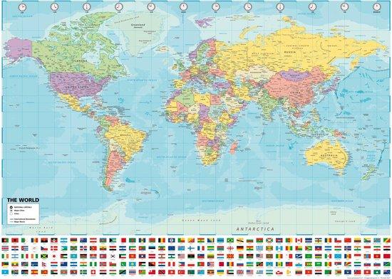 XXL Luxe Wereldkaart  Poster (140X100CM) + BONUS WERELDKAART (80X60CM)-WERELDKAARTEN EXTRA GROOT FORMAAT-GROTE WERELD KAART POSTERS-WERELDKAART WANDDECORATIE