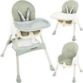 Kinderstoel 3 in 1 Verstelbaar - Stoel - Kinderzitje - Stoeltje - Stoelen - Voederstoel - Eetstoel - Combistoel - Baby Eetstoel - Kinderstoel voor Baby's - klaptafel 5-punts Gordel - Groen